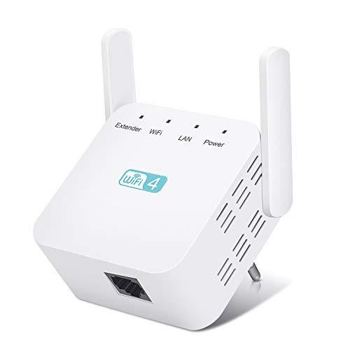 Kosiy Amplificateur WiFi 300Mbps/2.4GHz Repeteur de Wifi,Répéteur WiFi WLAN Extenseur Repeteur WiFi Freebox, WiFi Booster Compatible avec Toutes Les Box Internet,10 Appareils
