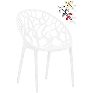 CLP Design-Gartenstuhl Crystal Kunststoff I Wetterbeständiger Stapelstuhl I Max. Belastbarkeit: 160 Kg I In Vielen…