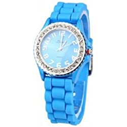 Original Ladies Watch Blue Silicone Wristwatch Watch Trend Watch Trend Watch Leonira * NEW * OVP*