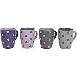 Tassen-Set in Lila & Grau mit Pünktchen Motiv | Große Teetassen & Kaffeetassen mit 300ml Volumen | 4-teiliges gepunktetes Keramik-Tassen Set | farbliche Becher für Heißgetränke mit großem Henkel |