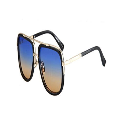 Sportbrillen, Angeln Golfbrille,Mens Casual Sunglasses Brand Designer Big Square Men Driving Sun Glasses Women Gradient Matte Black Lunettes De Soleil blue yellow lens