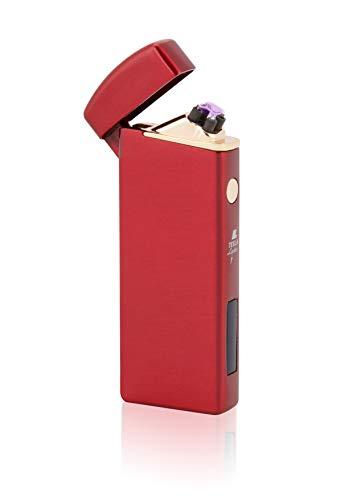 TESLA Lighter T14 Lichtbogen-Feuerzeug, elektronisches USB Feuerzeug, Double-Arc Lighter, wiederaufladbar, Magmarot