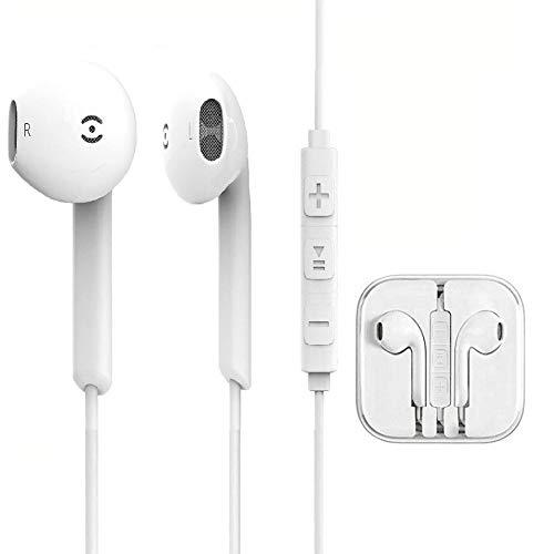 Humupii In-Ear Cuffie Auricolari con Telecomando e Microfono per Apple iPhone6 6s 6 Plus 5 5s 5c 4s 4 iPad iPod Samsung Huawei Android e Altri Smartphone (Bianco)