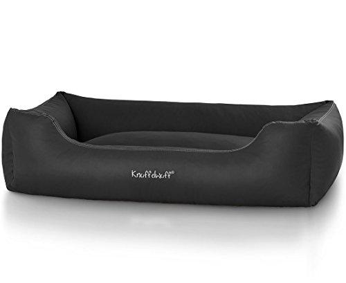 Knuffelwuff 13109 Leder Hundebett Sidney – Größe XXL, 120 x 85 cm, schwarz - 2