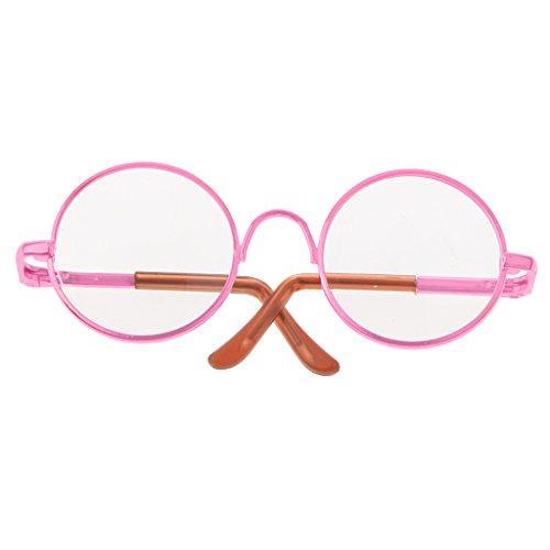 Süße Puppen Grille Glass mit Rund Brillengestell Für 1/6 Blythe Puppen Kinder Lustiges Spielzeug - Rosa