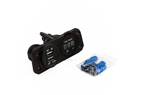 Panel Dual USB Socket and Voltmeter for Boat / Rv / Car / Motor-home - External Mount by XYZ Boat Supplies Panel-mount-voltmeter