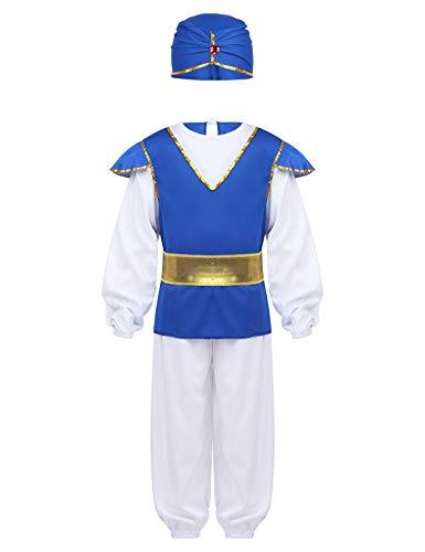 YiZYiF 4-Teilig Arabischer Prinzen Kostüm Set Wunderlampe Genie Rollenspiel Outfit Kinder Jungen Geburtstag Karneval Fasching Cosplay Bekleidungsset Weiß&Blau 116-128 (Kleinkind Prinz Kostüm)