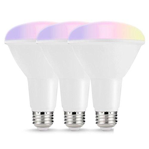 Flutlicht Br30 Glühbirne (Moligh doll Smart LED-Lampen, mehrfarbige WIFI LED-Leuchten, BR30 Dimmbare Einbauleuchten, 75W-80W Equivalent Flutlicht, Kompatibel mit Amazon Alexa und -Assistent, 3 Pack)