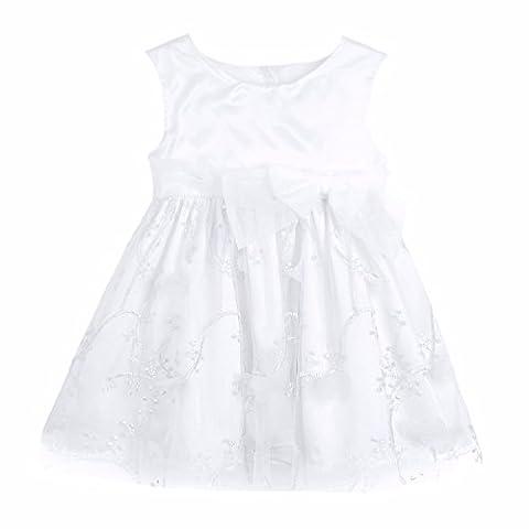 YiZYiF Baby Mädchen Kleider mit 3D Blumen Taufkleid Festlich Kleid Hochzeit Party Kleinkind Kinder Kleidung Festzug Gr. 50 56 62 68 74 80 86 92 Elfenbein 50-56