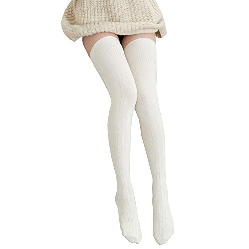 Bakicey Damen Kniestrümpfe Socken Overknee Strümpfe Strumpfhosen Baumwollstrümpfe Stricksocken Stützkniestrümpfe Gestrickte Socken Hoch Über das Knie Lange Socken Winter Strümpfe, 74cm Weiß, 74cm