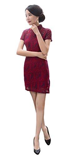 Angcoco Women's Short Sleeve Bodycon Lace Cheongsam Mini Dress Qipao #0002