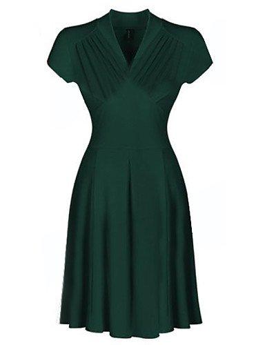 PU&PU Robe Aux femmes Trapèze / Swing Vintage / Soirée , Couleur Pleine Col en V Mi-long Coton / Lin / Spandex / Autres green-xl