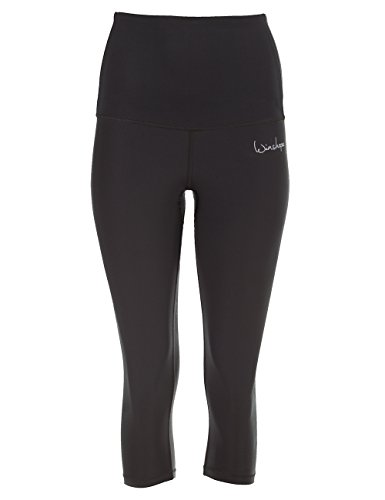 Winshape Damen Functional Power Shape 3/4-Tights High Waist HWL202, schwarz, Slim Style Fitness Freizeit Sport Leggings, M -