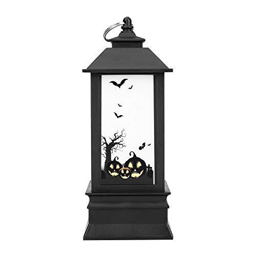 Eboxer Luz de Llama de Halloween de Mago/Esqueleto / Calabaza/Fantasma, Luz de la Lámpara de Aceite Pequeña Mejor Decoración de Regalo para el Festival de Halloween(Calabaza)