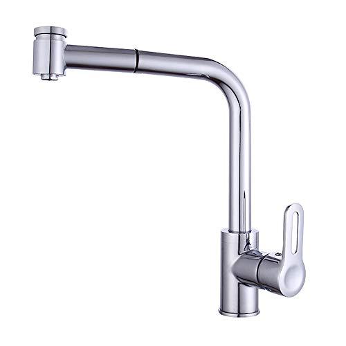 UKE Küchenarmatur, Einhand-Spüle Wasserhahn mit Pull-Down-Sprayer 360 ° Schwenkbogen Schwanenhals für Gewerbe und Privat (Silber) - Pull-down-spüle