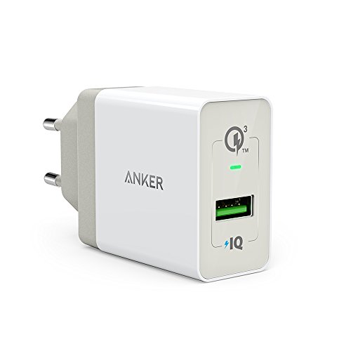 Anker PowerPort+ 1 Quick Charge 3.0 18W USB Wand Ladegerät mit Power IQ für Galaxy S7/S6/Edge/Plus, Note 5/4, LG G4, HTC One A9/M9, Nexus 6, iPhone 7 6 5, iPad und Weitere (Weiß) (1 Anker)