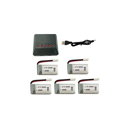 Batería de Litio con Cargador 5 en 1 para H8 H22 Eachine H8 Mini Quadcopter Repuestos Drone Cargador de batería 5PCS / Set 3.7V 300mAh