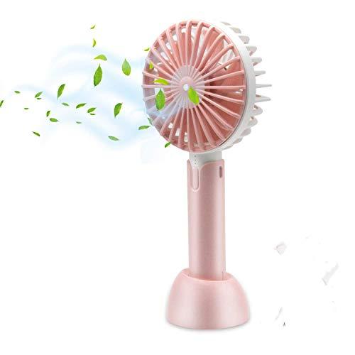 HOTLIFE Mini Ventilator Handventilator Tragbarer Mini USB Lüfter mit 18650 mAh Aufladbarem Batterie Beweglicher 3 einstellbare Geschwindigkeiten Personal Fan für Indoor und Outdoor Aktivitäten (Pink) (Fan-pink Kleine)