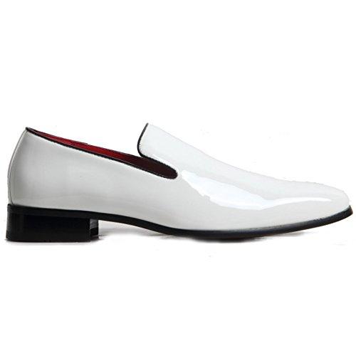 Gentleman pour homme en cuir véritable doublé antidérapant sur le Penny Flâneur Western Talon Chaussures Patent White
