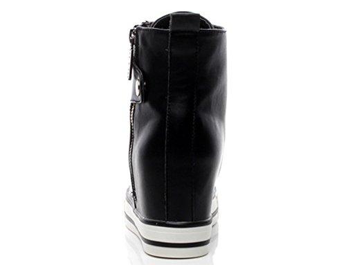 Wealsex Baskets Mode Compensées Montante Sneakers Tennis Chaussures Casuel PU Cuir Lacet Fermeture éclair Femme Noir