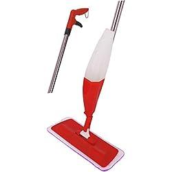 ARSUK® Spray de Balai, Vadrouille à pulvériser pour carreaux en stratifié de bois dur, Spray Mop | Avec 1 tampon en microfibre réutilisable, bouteille rechargeable et grattoir (Mop Spray Rouge)