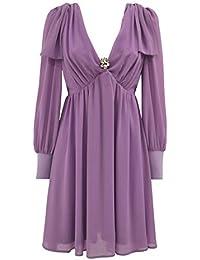 0e91239c436e pdk Vestito Manica Lunga Donna Elegante Corto