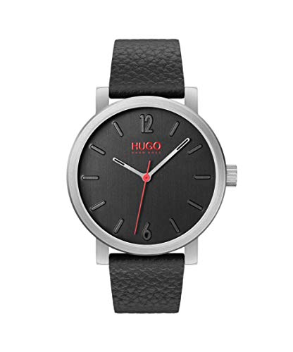 HUGO Unisex-Adult Analogue Quartz Watch with Leather Strap 1530115 Best Price and Cheapest
