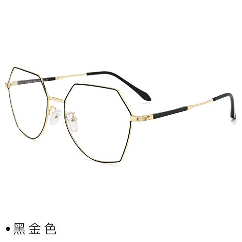 CFLFDC Sonnenbrillen Myopia Glasses Frame Glasses Frauen Net Rot Vegetarisch Yen Xian Gesicht Dünn Mit Myopie-spiegel-rahmen Mann 1,61 (dünn) Schwarzes Gold