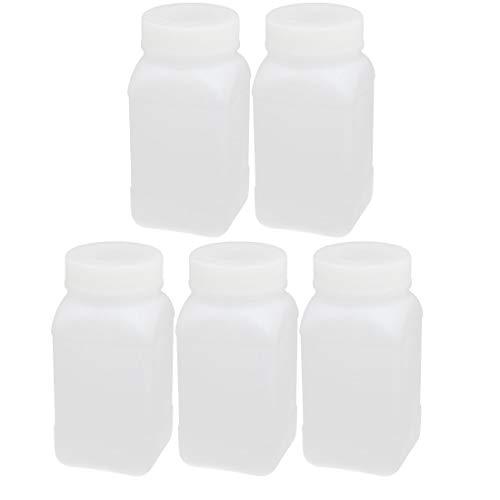 ZCHXD 5pcs 250ml HDPE Plastic Wide Mouth Square Liquid Storage Bottle Container White (Square Liquid Container)