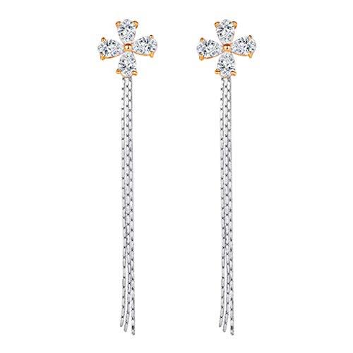 Dual Color Frauen Zircon-Bolzen Ohrringe baumeln Mädchen elegant Petal Entwurfs-Tropfen-Ohrring-Kette Schmuck Zubehör