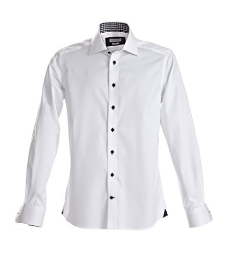 men's Slim fit 20 shirt - Red Bow collection, L, White/ Black (Herr Frost Kostüm)