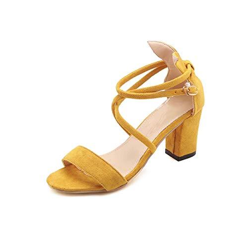 Woman Sandals Female High Heels Flock Cross Ankle Buckle Strap Ladies Peep Toe Sexy Thick Heels Summer Shoes Footwear New Beige 9 Patent Sling Strap Peep Toe