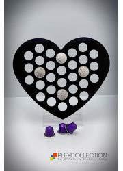 Porta cialde/capsule compatibili per caffè nespresso in plexiglass cuore mm 300x150x300 (rosso)
