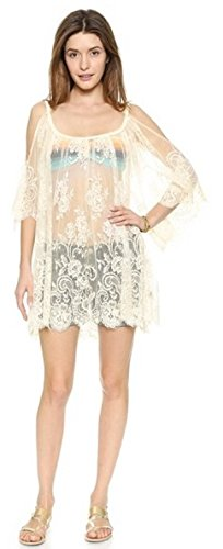 Vestitino ricamato floreale del Crochet del merletto delle donne aimerfeel coprire gonna top gilet Bralet, nero o bianco, L-XL Beige