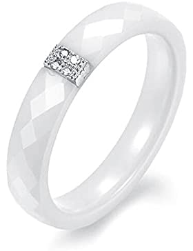 Beauty7-Elegant Pure Weiss Keramik Ring Mit Silbrige Plated Platimum-Keramik und Platinum-Fuer Damen und Herren-Weiss-Groesse...