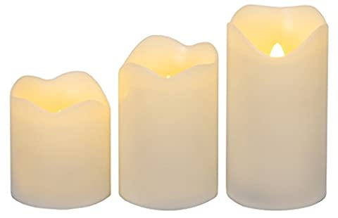Star 4.5/6/7.5 x 4.5 cm LED Real Wax Candles, Set of 3