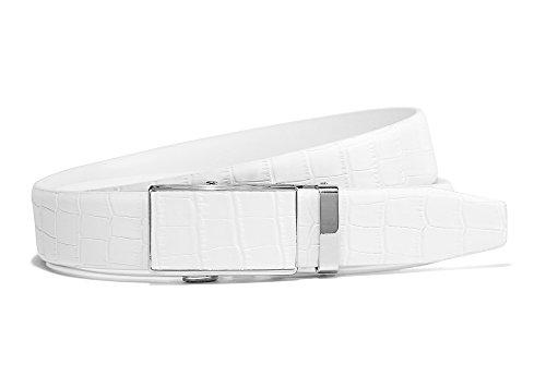 Herren Ratsche Gürtel Perfekte Passform Weiß Leder Kleid Gürtel mit verstellbaren Automatik Gürtelschnalle (Gesamtlänge 110cm(Bundweite 95cm), Weiß-krokodil) (Krokodil Gürtel)