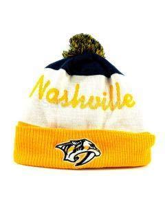 Reebok NHL Cuff Pom Winter Hat Nashville Predators, Größe:Unisize