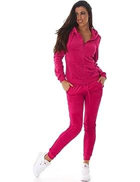 Jela London Damen Velours-Jogginganzug Samt Zweiteiler Trainingsanzug Set Freizeit Hausanzug Wellness Kapuzen-Jacke...