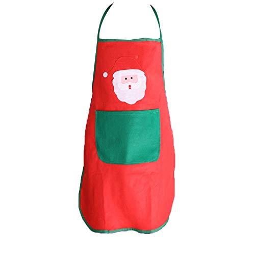 mi ji Weihnachten Non-Woven-Schürze Weihnachtsmann Schürze Chef Schürze Küche Abendessen Kostüm-Weihnachtsschürze für Weihnachten Weihnachten Urlaub Rot 1 Pc (Non Pc Kostüm)