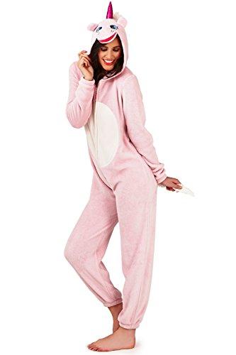 Loungeable Boutique da donna in pile con cappuccio Flamingo stampa tutina Pink Unicorn