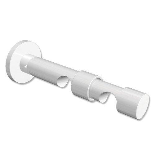 Interdeco Gardinenstangen Doppel-Wandhalter / Träger / Schraubkappen-Halterung Weiß 7 und 12 cm Abstand offen 2-läufig 20 mm Ø Prestige