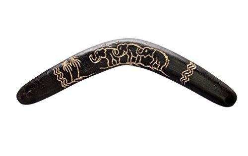 Ciffre 40cm Bumerang Bummerang Boomerang Deko Fair Trade Elefant Geschnitzt Schwarz Holz