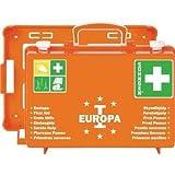 Söhngen Erste-Hilfe-Koffer EUROPA I orange (Erste-Hilfe-Kasten + Unterteilung. + Wandbefestigung, gefüllt; + aluderm Wundverbände + SIRIUS Rettungsdecke; 20 Jahre sterile Verpackung) 03001356