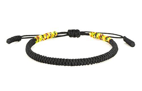 Mister Boncuks Get Lucky Knoten Armband - Tibetische Buddha Handarbeit Glücksbringer Knoten Armband - Yoga Sport - Meditation - Glück - Liebe - Geschenk - Mode - Trend (Schwarz) - Männer Für Sport-armband