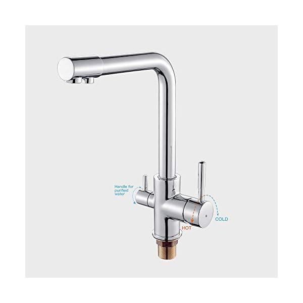 Auralum Carbonit grifo grifo grifo grifo grifo grifo de agua bebida grifo grifo mezclador 3 en 1 para fregadero de cocina sistema de filtro (alta presión)