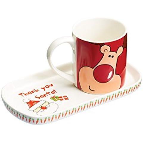 Kitchen Craft - Juego de taza y bandeja, diseño de Papá Noel, blanco