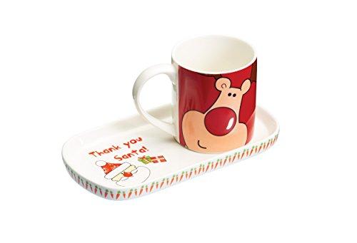 Kitchen Craft - Juego de taza y bandeja, diseño de Papá Noel,...