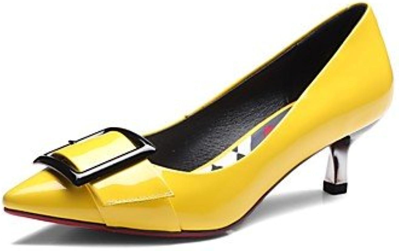LvYuan-ggx Mujer Tacones Confort PU Otoño Invierno Casual Confort Gris Amarillo Plano, Yellow, us9.5-10 / eu41...