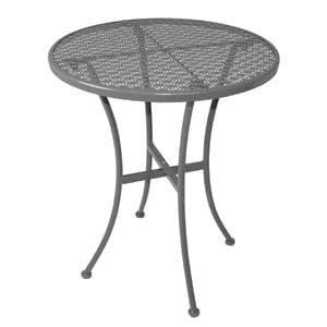 Commercial grey steel patterned round bistro table grey for Table jardin beauty